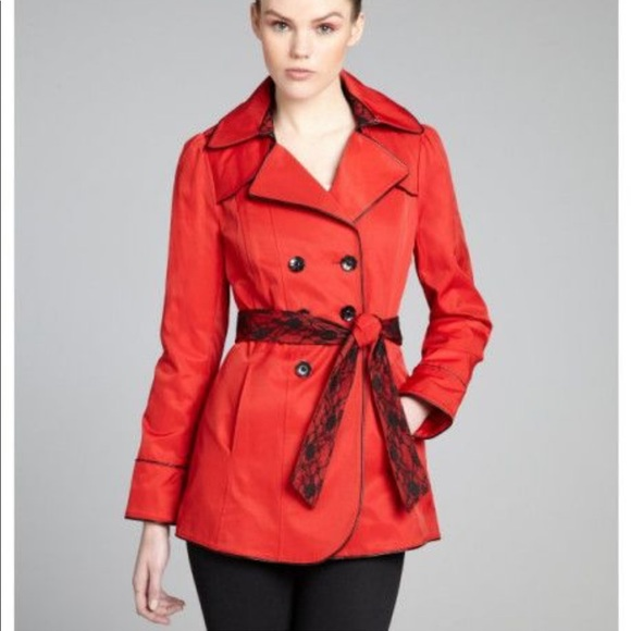 70fe28c156d Betsy Johnson Red Lace Trench Coat